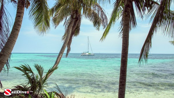 Belize, Yacht in Water, Palm Trees, Tiny Cay