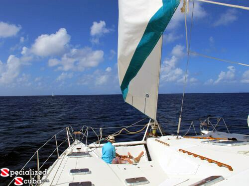 Sailing and Sunning on deck